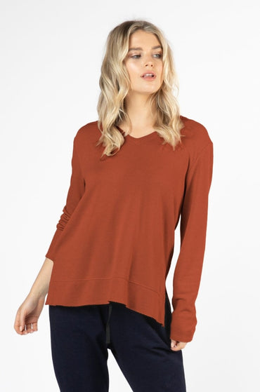 Betty Basics Zara Waffle Long Sleeve Top in Terracotta - Hey Sara