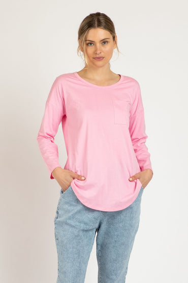 Betty Basis Phoebe Top in Floss Pink - Hey Sara