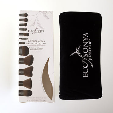 Eco - 12 Piece Vegan Brush Set in Black Velvet Roll - Hey Sara