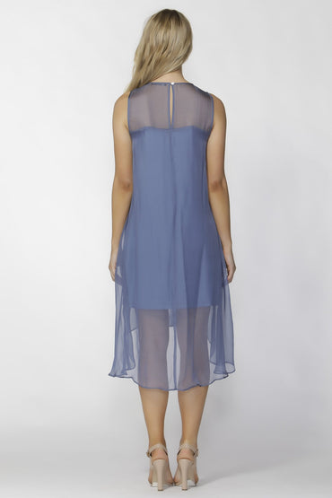 Fate + Becker Aliza Party Dress in Blue Sheer Silk Size 8 ONLY - Hey Sara