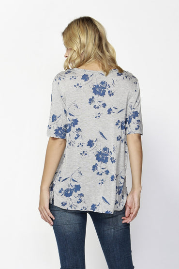 Fate + Becker Dream Big Floral Tee in Grey Print - Hey Sara