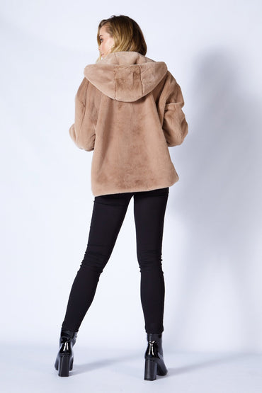 Fate + Becker Ellis Faux Fur Coat in Light Mocha - Hey Sara