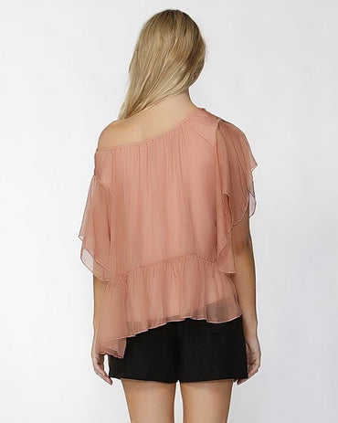 Fate + Becker Este Ruffled Sheer Silk Blouse in Blush Size 6 ONLY - Hey Sara