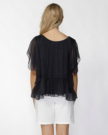 Fate + Becker Este Ruffled Sheer Silk Blouse in Navy Size 6 or 8 - Hey Sara