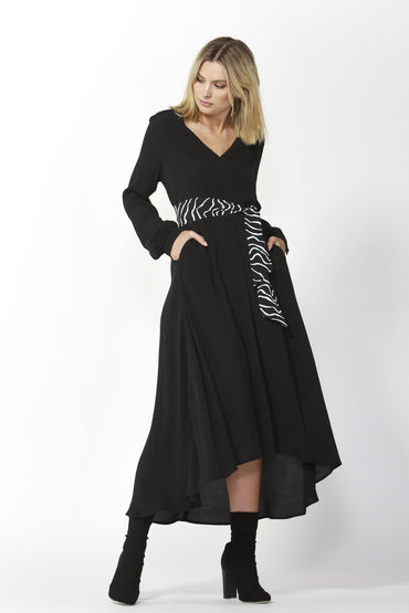 Fate + Becker Hudson Dress and Contrast Belt in Black - Hey Sara