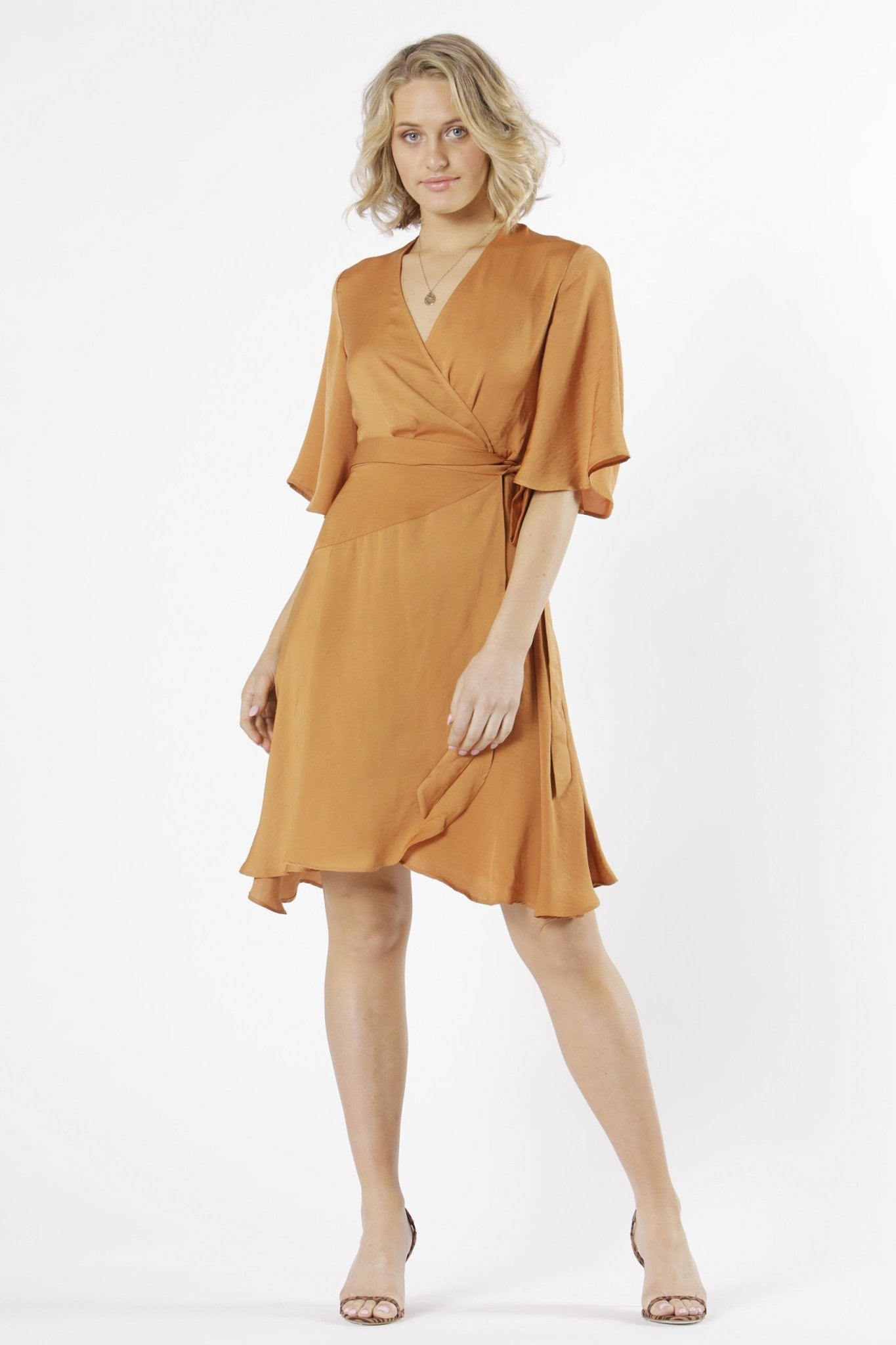 Fate + Becker Mariella Wrap Dress in Apricot - Hey Sara