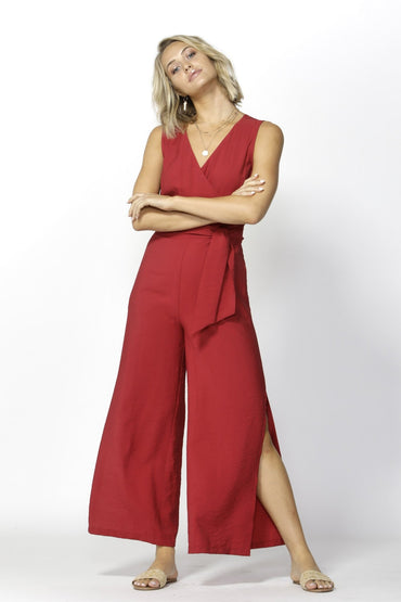 Fate + Becker Seven Seas Jumpsuit in Ultra Red - Hey Sara