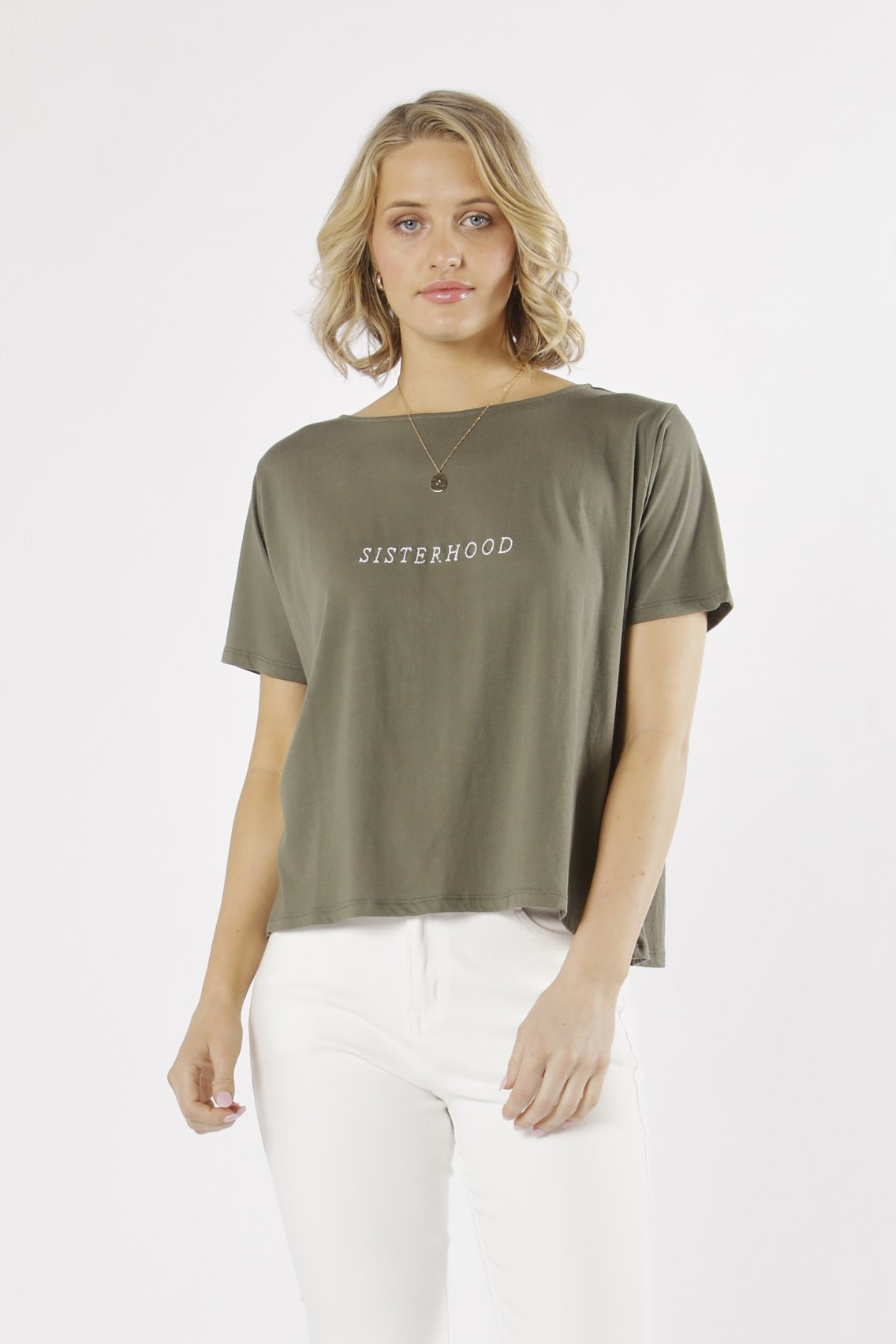 Fate + Becker Sisterhood Tee in Khaki - Hey Sara