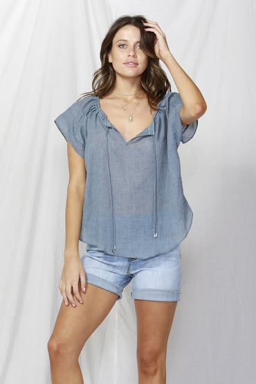 Fate + Becker Sunday Drawstring Top in Navy Size M ONLY - Hey Sara