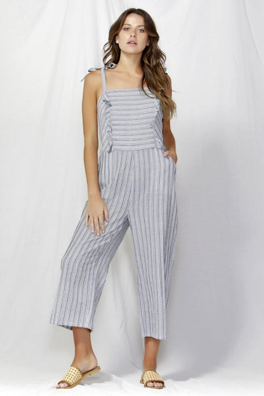 Fate + Becker Venice Button Jumpsuit in Navy Stripe - Hey Sara