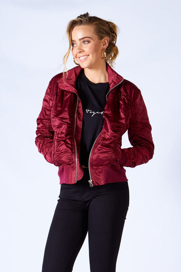Fate + Becker Weekender Bomber Jacket in Deep Merlot - Hey Sara