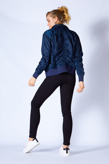 Fate + Becker Weekender Bomber Jacket in Navy Nights - Hey Sara