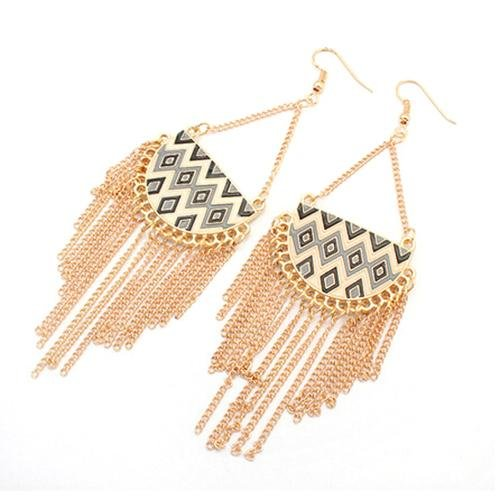 Hey Sara Modern Geometric Drop Earrings with Black Trim - Hey Sara