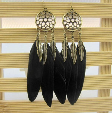 Hey Sara Vintage Dream Catcher Feather Earrings in Black - Hey Sara