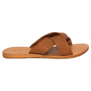 Just Because Colva Slide in Tan Leather - Hey Sara