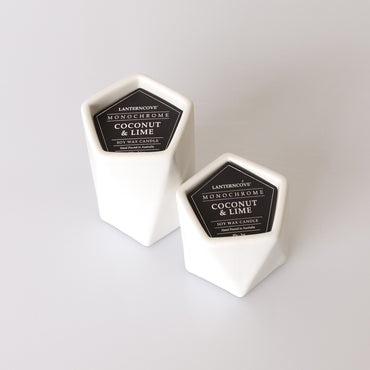 Lantern Cove Monochrome White Coconut and Lime 3oz Soy Candle - Hey Sara