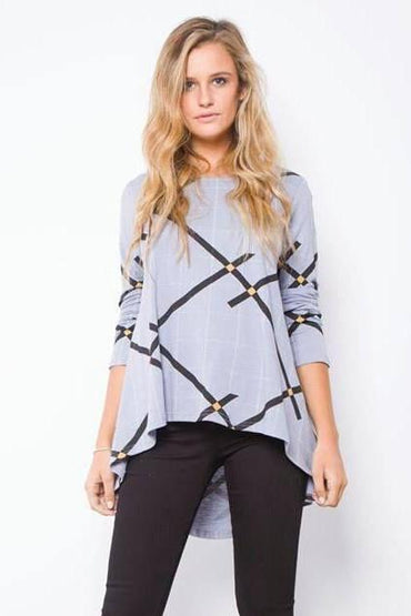 Leoni Grey High Low Hemline Zig Zag Top Size M or XL - Hey Sara