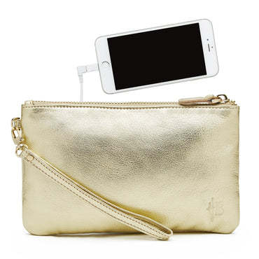 Mighty Purse Phone Charging Wristlet - Gold Shimmer - Hey Sara