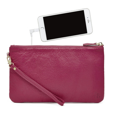 Mighty Purse Phone Charging Wristlet - Poppy Pink - Hey Sara