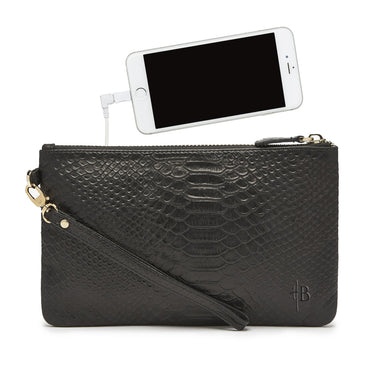 Mighty Purse Phone Charging Wristlet - Reptile Black - Hey Sara