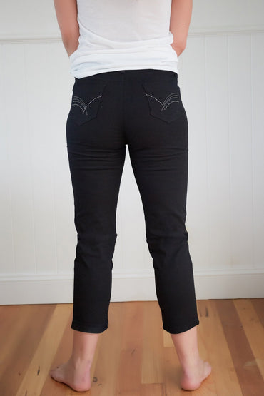 Promises Cotton Stretch Jeans with Diamantes in Black - Hey Sara