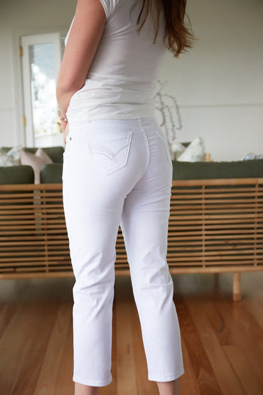 Promises Cotton Stretch Jeans with Diamantes in White - Hey Sara