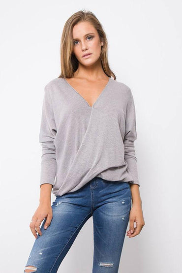 Rust Rock Long Sleeve Wrap Knit in Grey - LAST ONE Size S - Hey Sara