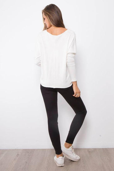 Rust Rock Long Sleeve Wrap Knit in White - Hey Sara