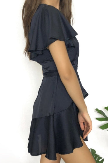 Saints + Secrets Faux Wrap Ruffle Mini Dress in Navy Size 6 ONLY - Hey Sara