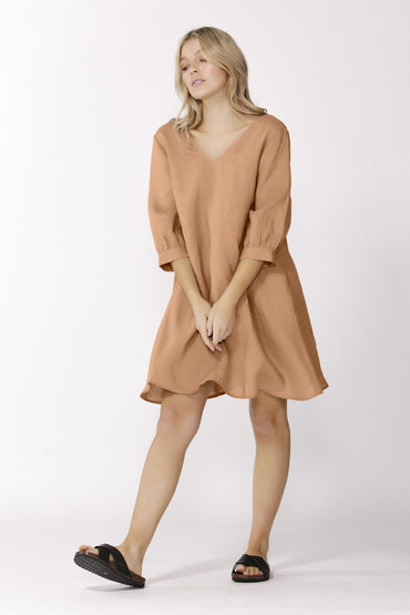 Sass Alberte 3/4 Sleeve Dress in Cinnamon - Hey Sara