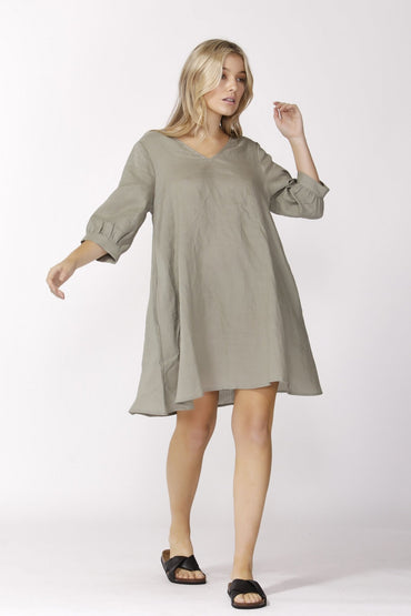 Sass Alberte 3/4 Sleeve Dress in Khaki Size 10 ONLY - Hey Sara