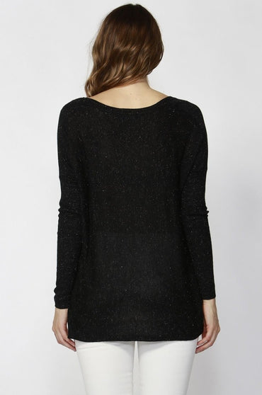 Sass Alianna Sparkle Knitted Top in Black - Hey Sara