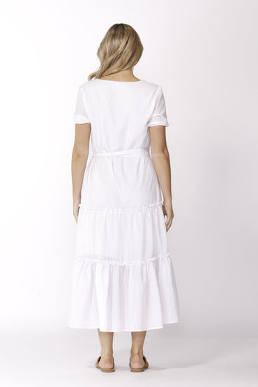 Sass Aurora Midi Dress in White - Hey Sara