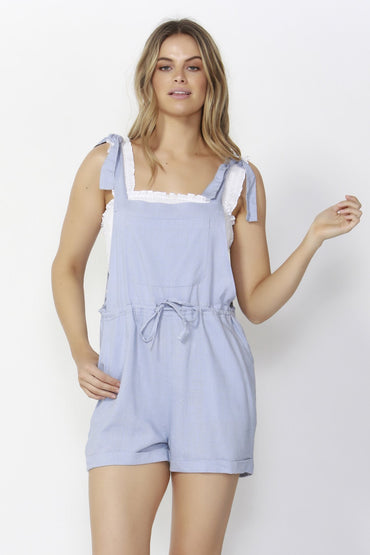 Sass Beach Babe Linen Overalls in Sky Blue - Hey Sara
