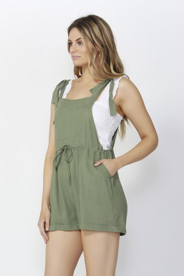 Sass Beach Babe Linen Overalls in Turtle Green - Hey Sara