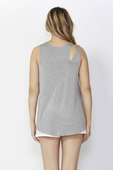 Sass Break Free Split Shoulder Tank Top in Grey Marle - Hey Sara