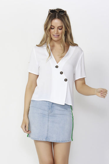 Sass Catching Rays Blouse in White - Hey Sara