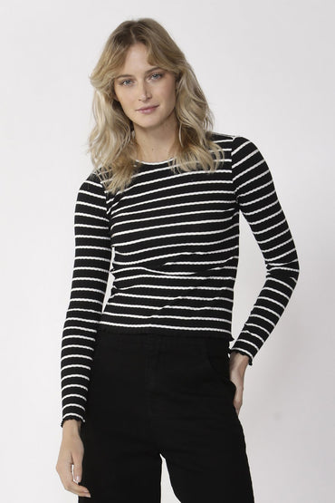 Sass Crowd Pleaser Stripe Top in Black and White - Hey Sara