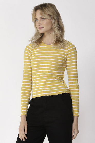 Sass Crowd Pleaser Stripe Top in Sunflower and White - Hey Sara