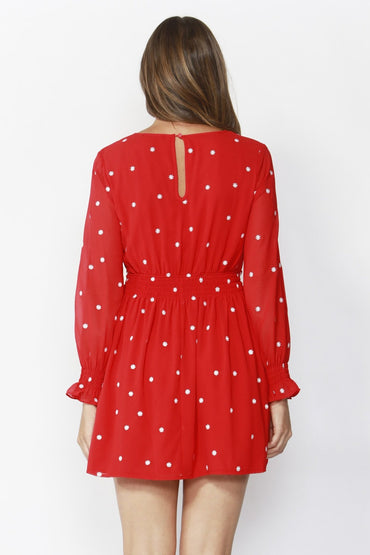 Sass Daisy Fields Embroidered Dress in Apple Red - Hey Sara