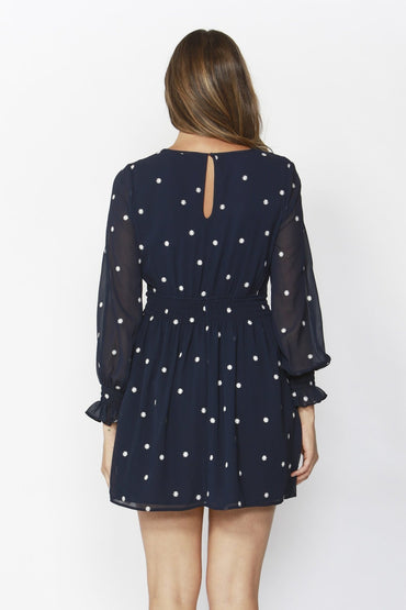 Sass Daisy Fields Embroidered Dress in Midnight Blue - Hey Sara