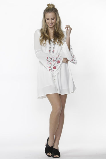 Sass Daliah Embroidered Bell Sleeve Boho Dress in White - Hey Sara