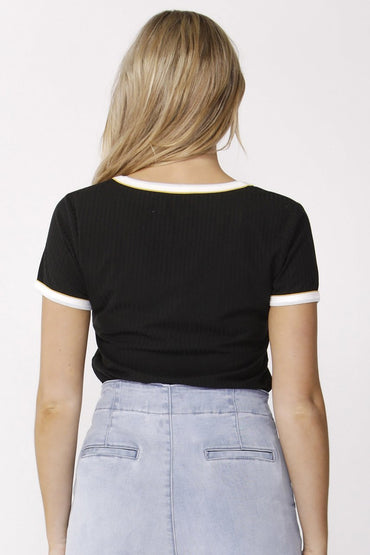 Sass Deja Vu Ribbed Contrast Tee in Black - Hey Sara