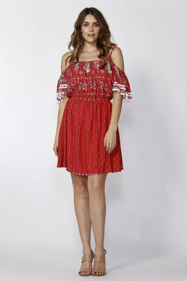 Sass Desert Floral Print Pom Pom Boho Dress in Red - Hey Sara
