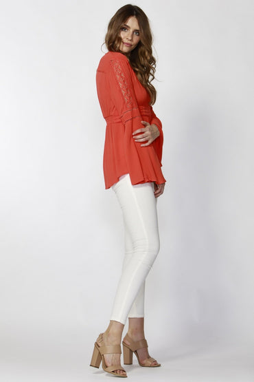 Sass Dominique Lace Trim Boho Blouse in Poppy Red - Hey Sara