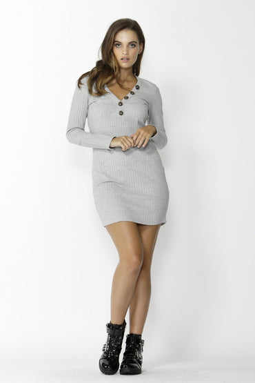 Sass Dream Chaser Button Dress in Grey Marle - Hey Sara
