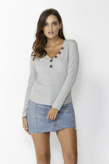 Sass Dream Chaser Button Top in Grey Marle Size 10 or 14 Only - Hey Sara