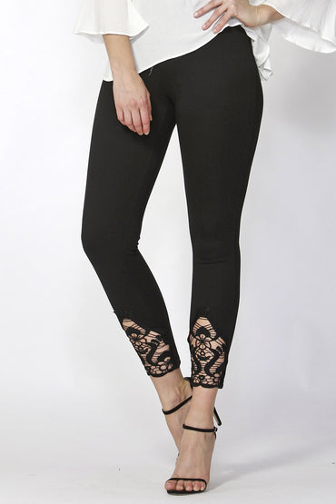 Sass Eli Lace Detail Ponte Pant in Black Size 8 or 10 Only - Hey Sara