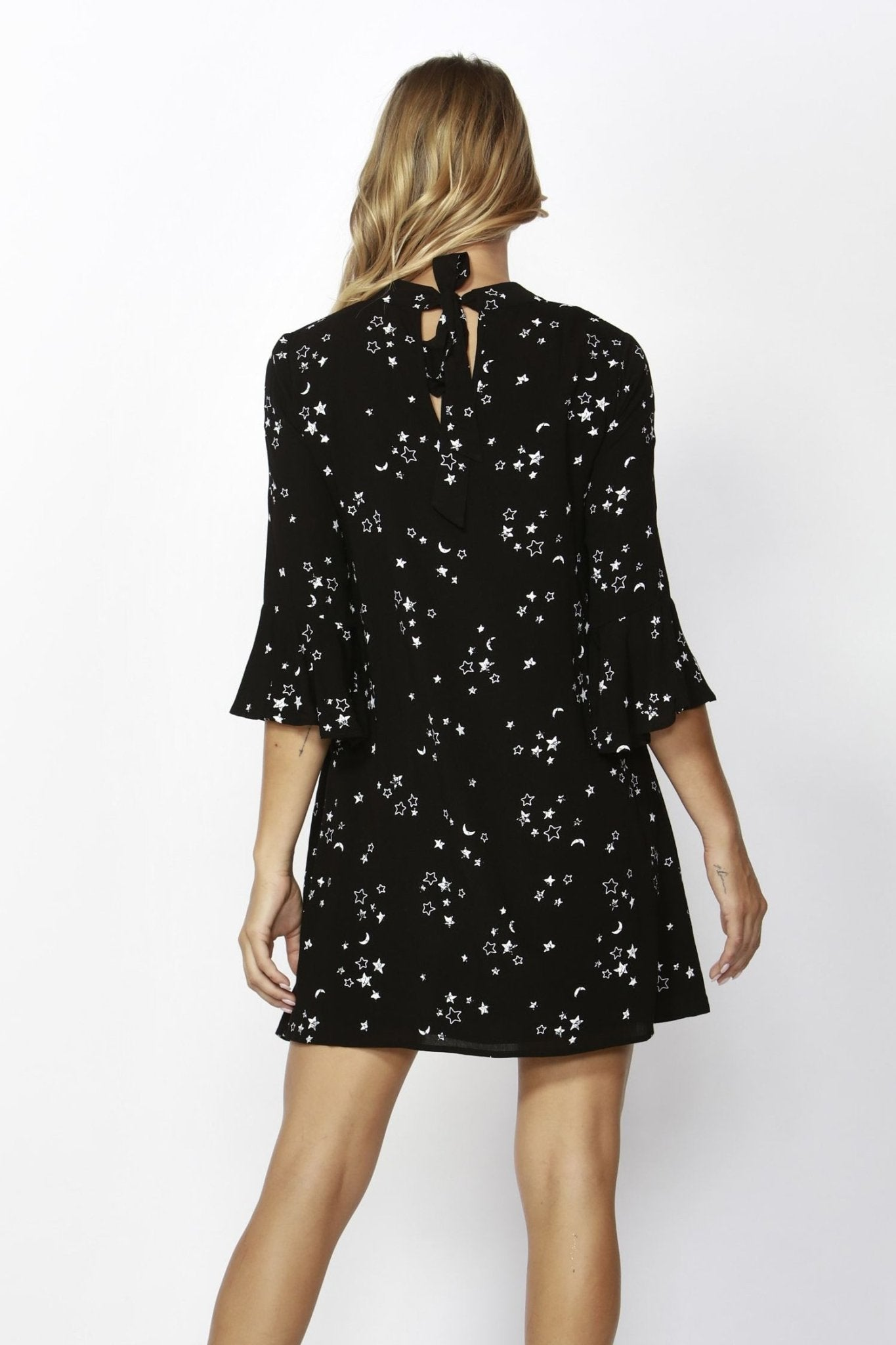 Sass Galaxy Print Bell Sleeve Mini Dress in Black Size 10 or 12 Only - Hey Sara