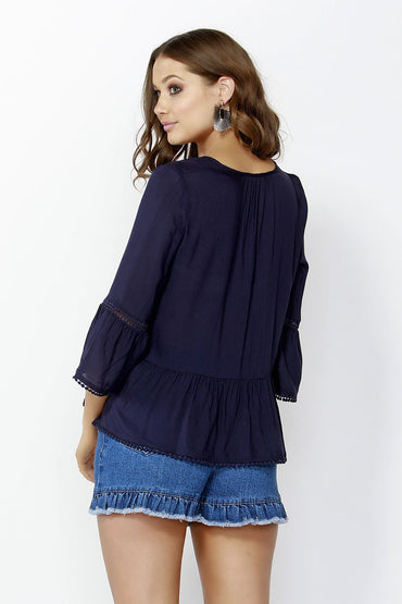 Sass Giddy Up Dobby Lace Blouse in Navy - Hey Sara